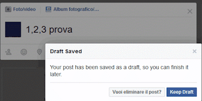 Come salvare un post in bozza su Facebook