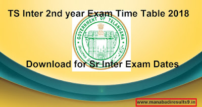 TS Inter 2nd year Time Table 2018 Download, Manabadi Inter Exam Time Table 2018