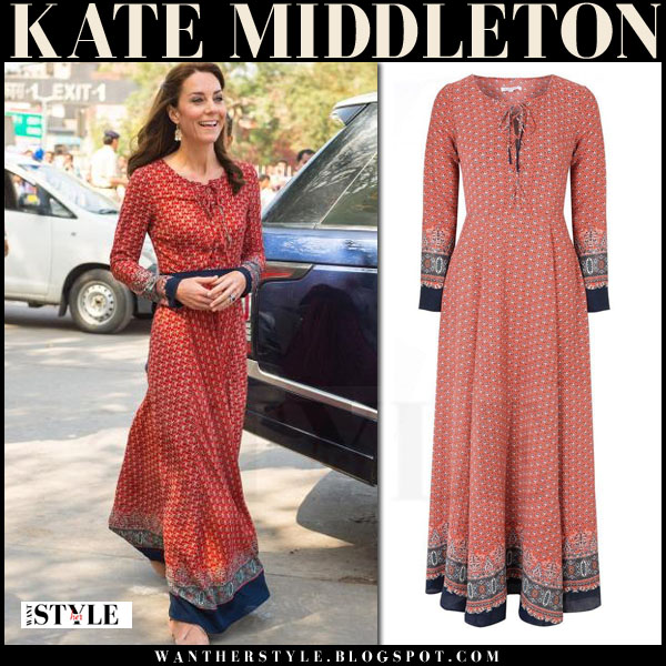 Kate Middleton in red printed lace up glamorous maxi dress with long sleeves mumbai royal visit india what she wore