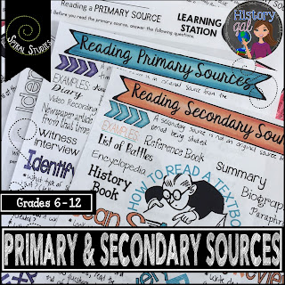 https://www.teacherspayteachers.com/Product/Reading-Primary-and-Secondary-Sources-Doodle-Notes-and-Stations-3025332