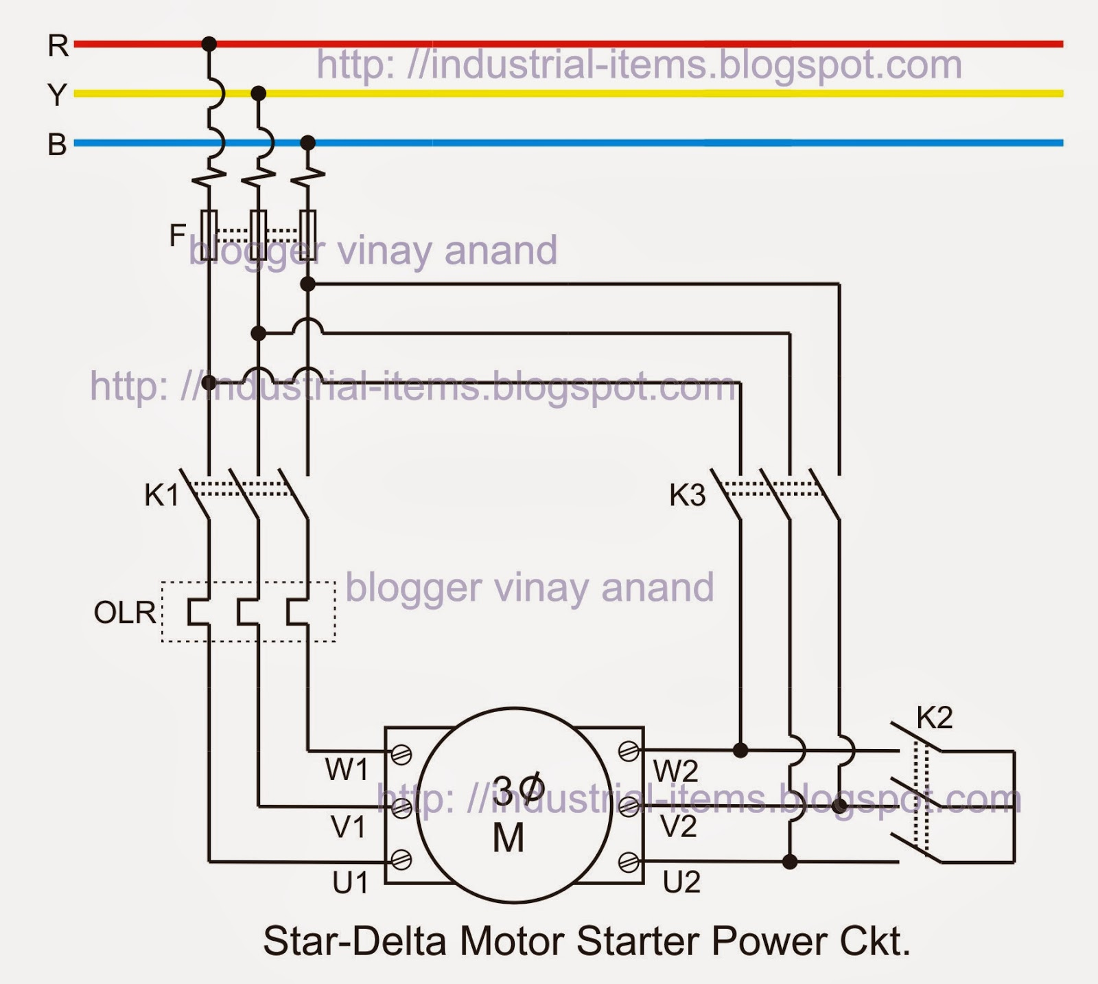 star delta starter power circuit of 3 phase induction motor [ 1600 x 1433 Pixel ]