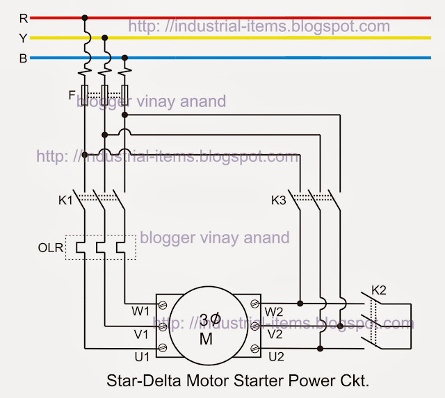 Star Delta Starter Power Circuit  of 3 phase induction Motor