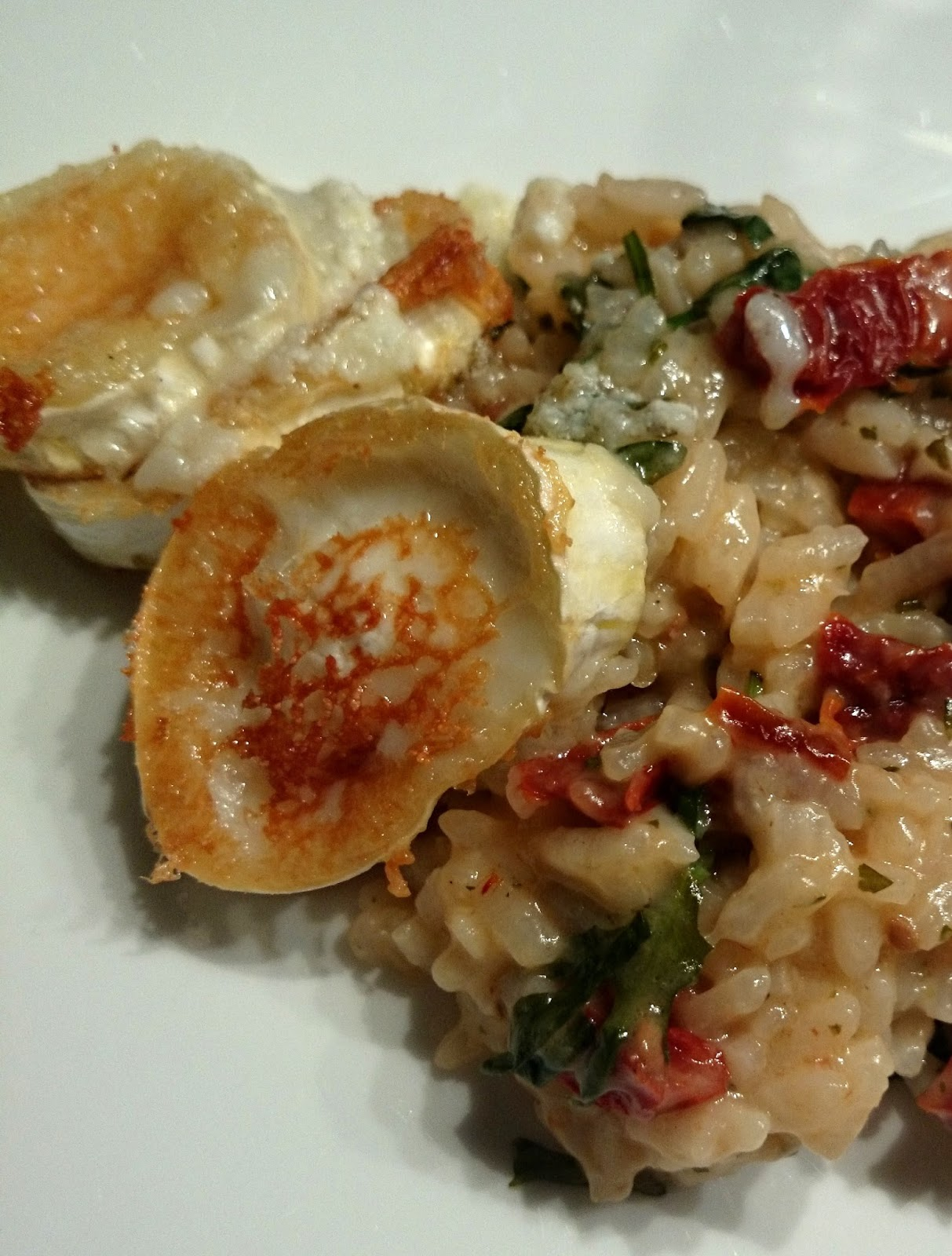 Recipe Goat Cheese Risotto with sun-dried tomatoes and rocket.