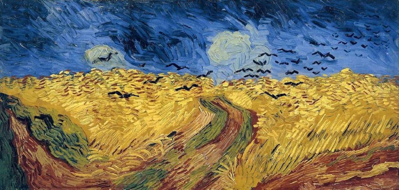 peinture représentant un champ jaune, le ciel bleu et des corbeaux