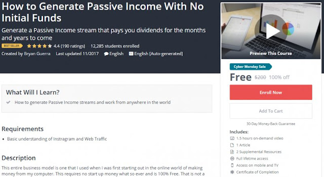 [BESTSELLING][100% Off] How to Generate Passive Income With No Initial Funds| Worth 200$