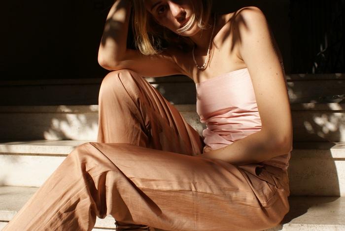 pink silk satin outfit elegant