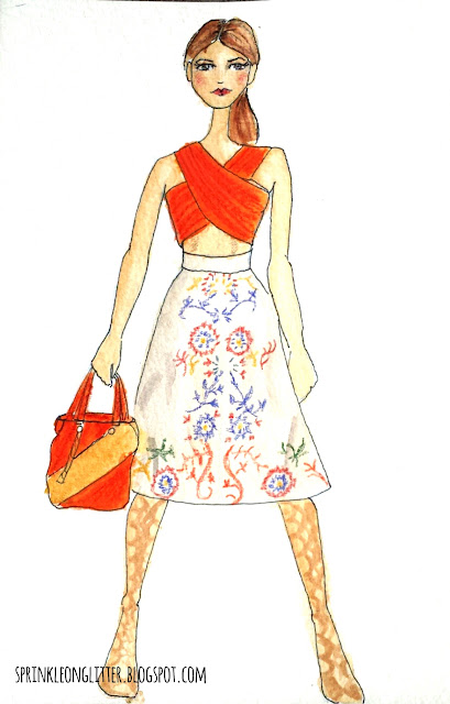 Sprinkle On Glitter Blog// watercolor fashion illustration// Alice & Olivia Ready to Wear 2016