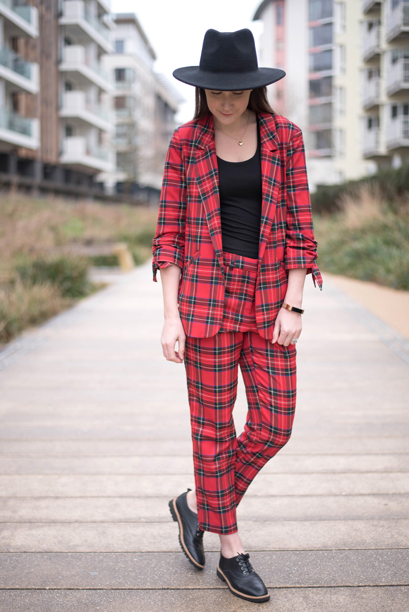 River Island Red Tartan Suit