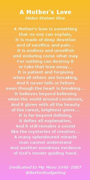 Poem - A Mother's Love, Helen Steiner Rice - BetterBudgeting