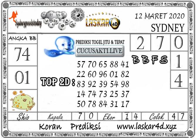 Prediksi Togel SYDNEY LASKAR4D 12 MARET 2020