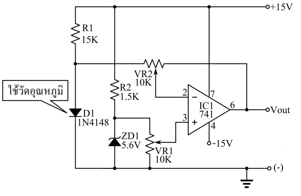 Temperature Sensor Circuit using 1N4148 diode Circuit Diagram