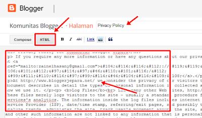 cara membuat laman privacy policy di blog
