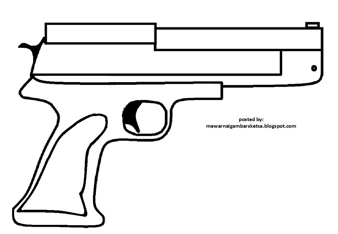 Mewarnai Gambar Sketsa Pistol 1