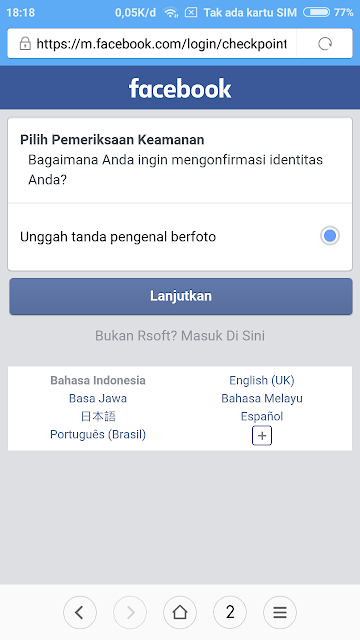 Memilih metode verifikasi akun Facebook