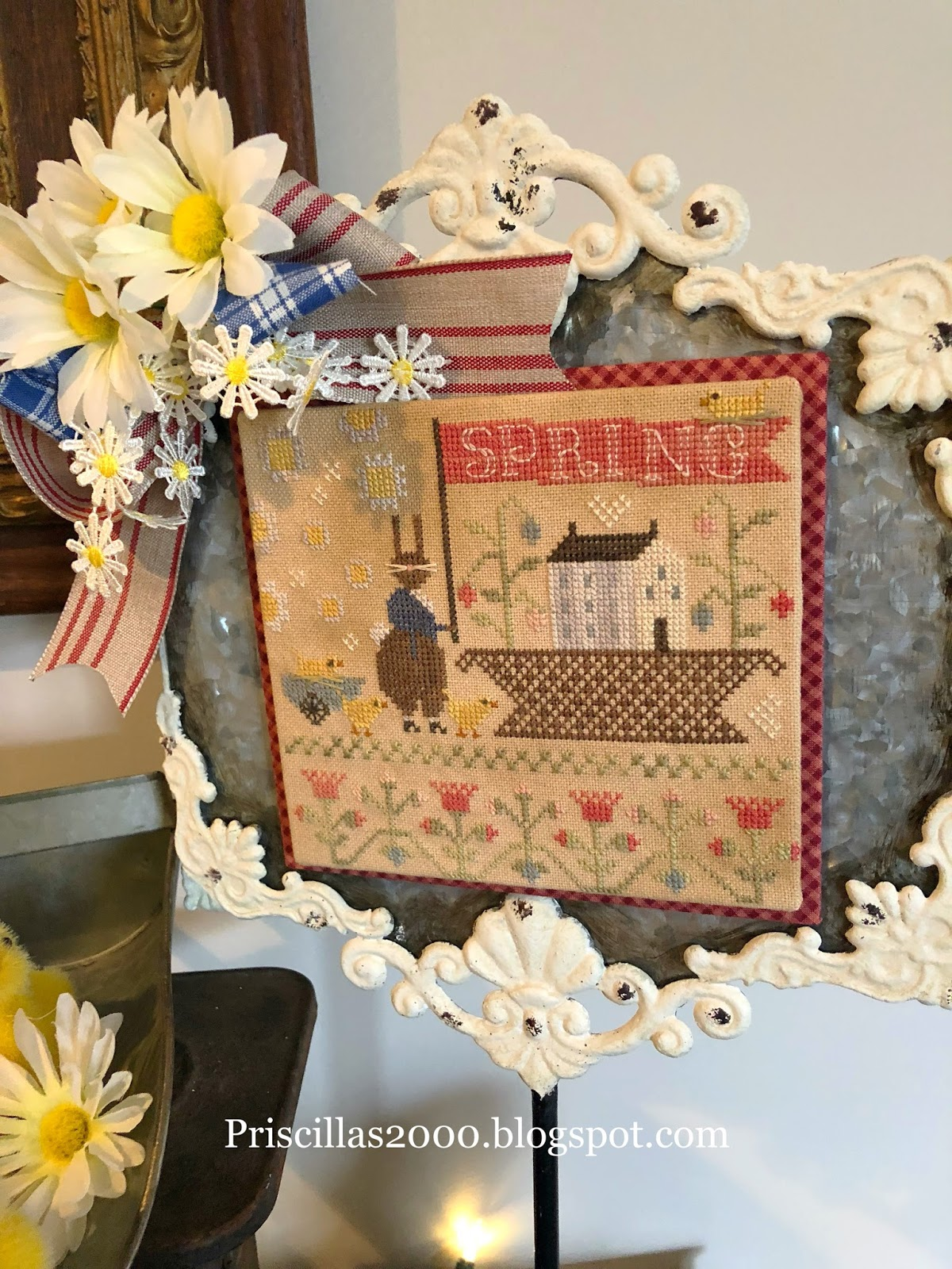 Basketful of Spring Time With Thy Needle Thread Cross Stitch Pattern