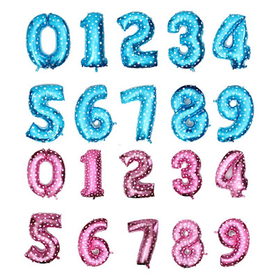 Balon Foil Angka Warna Pink & Biru