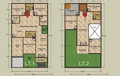 top baru 40+ denah rumah 2 lantai luas bangunan 150m2