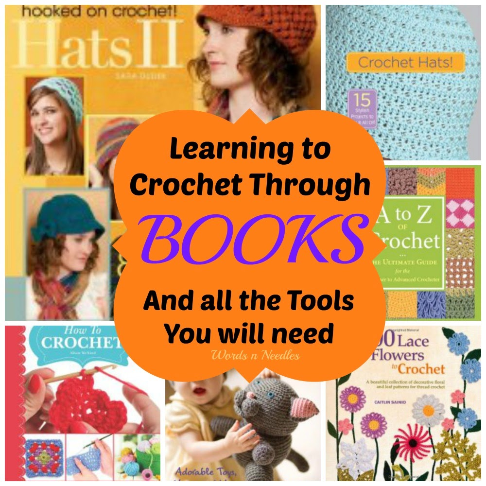 learning crochet books and tools