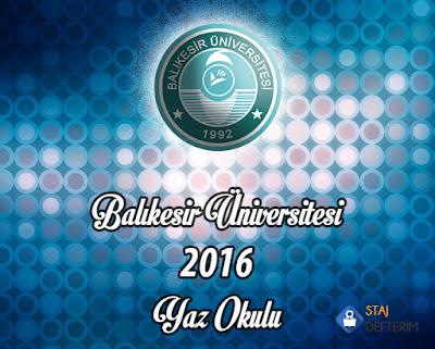 Balıkesir Üniversitesi 2016 Yaz Okulu