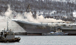 Kapal Induk Rusia Admiral Kuznetsov Kebakaran