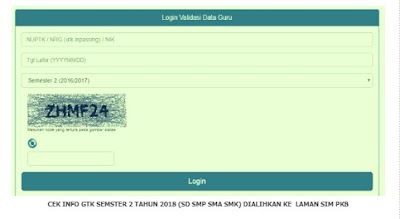 Info GTK Semester 2 Tahun 2018 Melalui SIM PKB