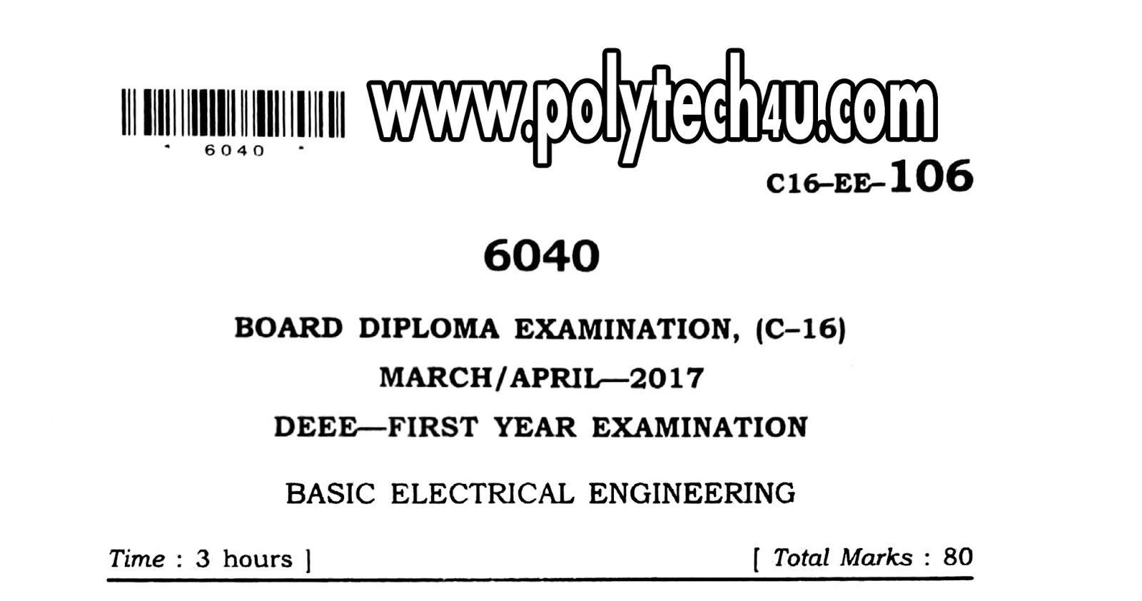 106 Basic Electrical Engineering C 16 Eee Previous Question Paper