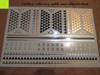 Farben Schwarz Silber Gold: Original FLASH TATTOOS - Die beliebten Gold Tattoos der Stars aus USA - Temporäre Tattoos (Dakota)