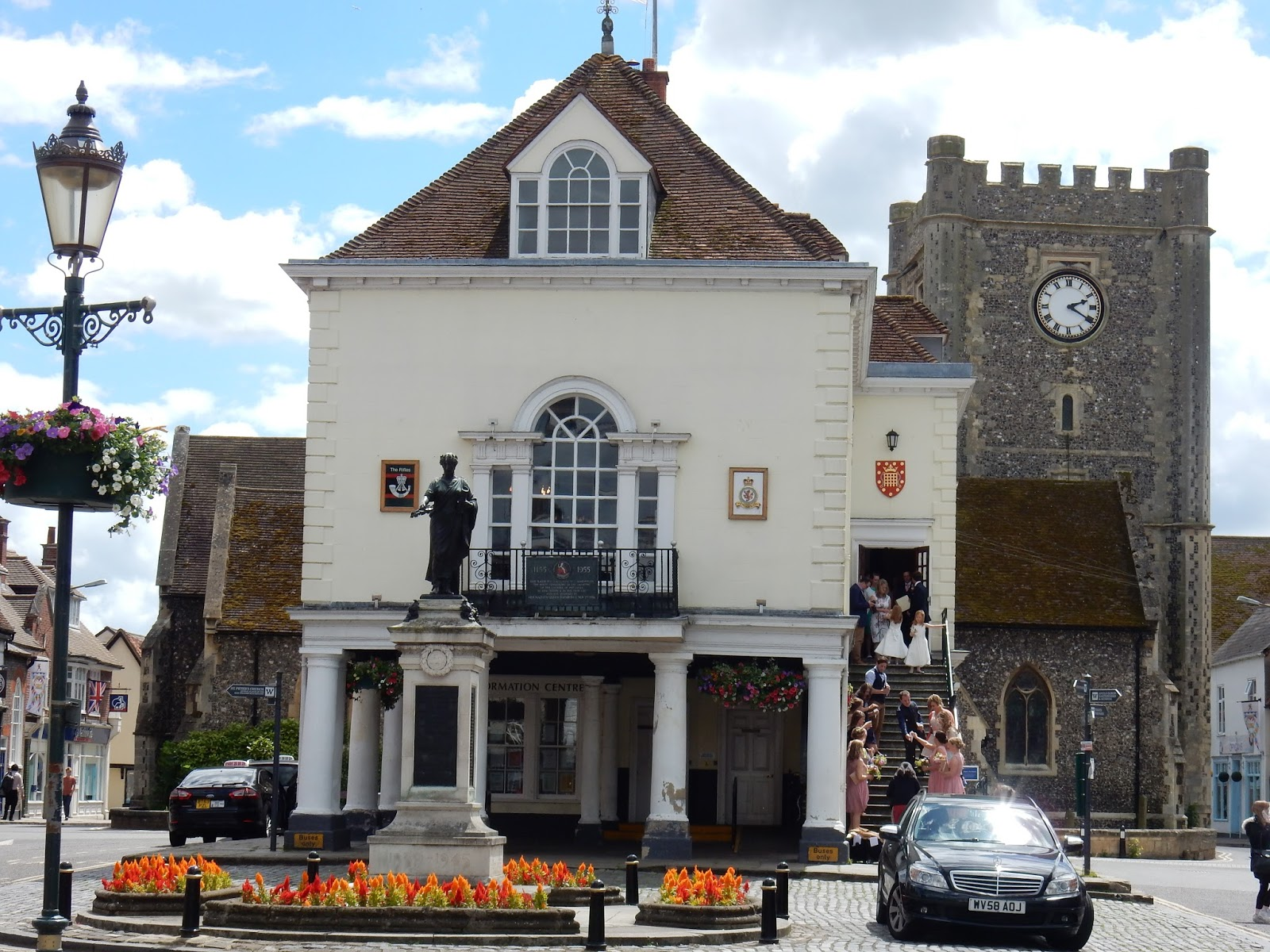 The White Painted Town Hall Is Like A Mini Version Of One In Abingdon It Was Built 1670 We Had To Stop And Watch Wedding Party Descend Stairs