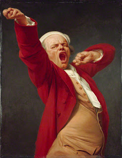 painting by and of Joseph Ducreux : Self-Portrait, Yawning,  before 1783. Oil on canvas, 45 x 35 in.