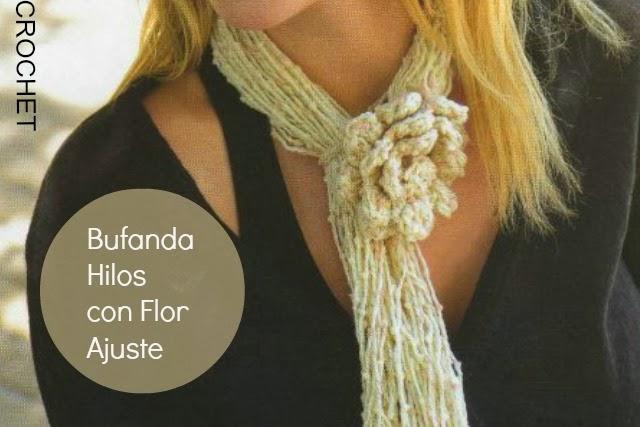 Bufanda Hilos de Lana Flor ajustable