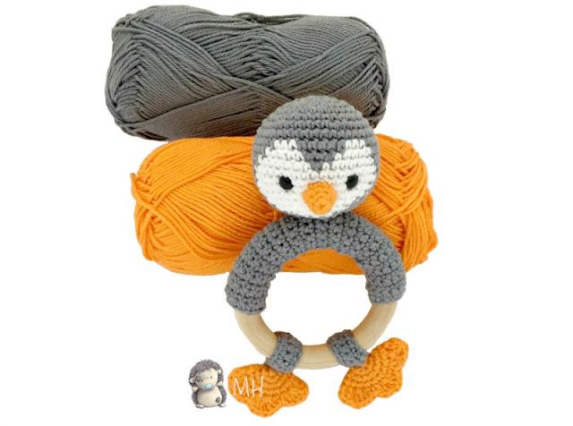 Mordedor pingüino a crochet