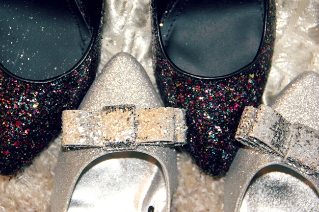 H&M blue and silver glitter shoes