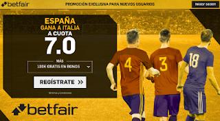 betfair supercuota victoria de España a Italia 2 septiembre