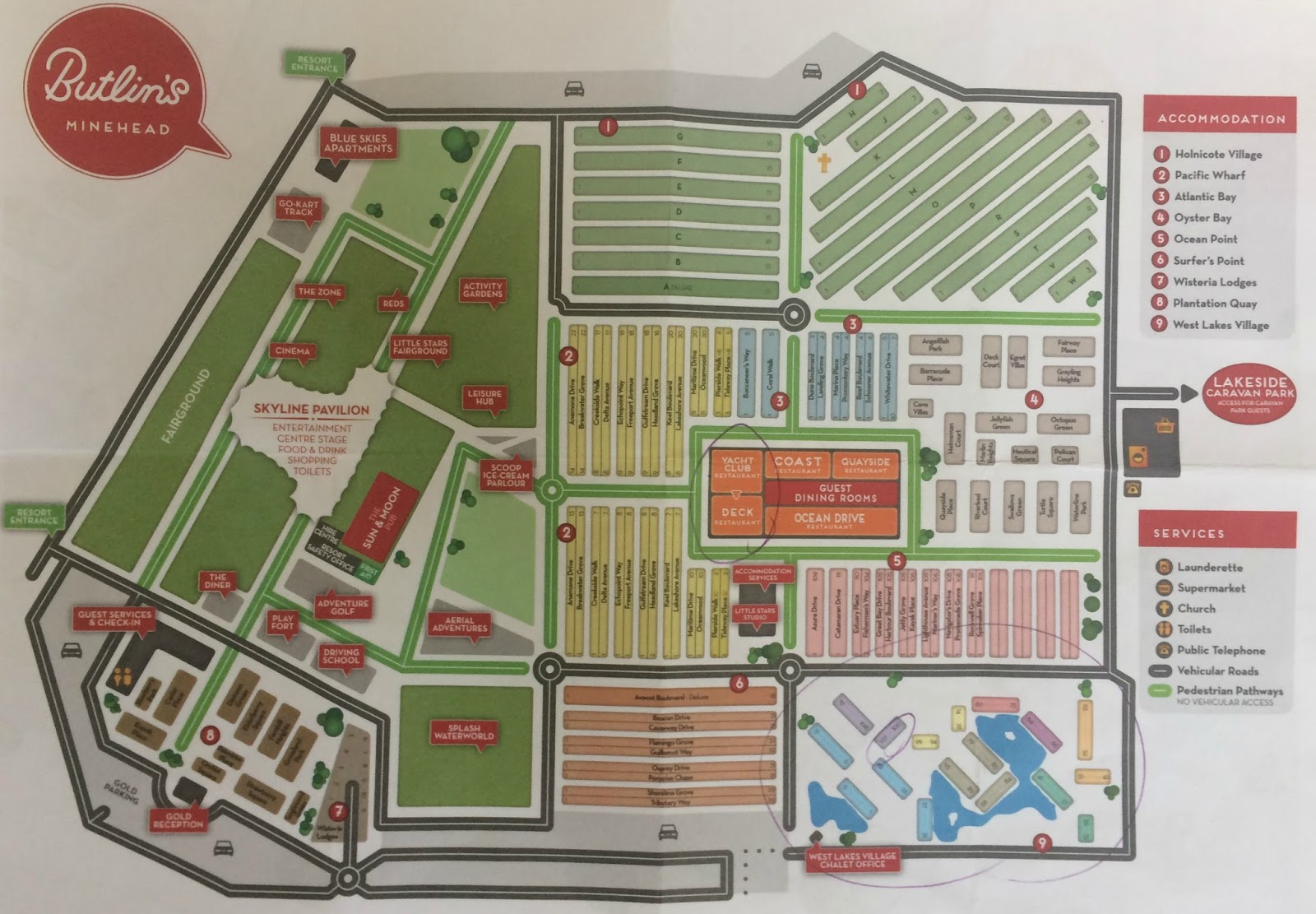 Butlins Minehead site map