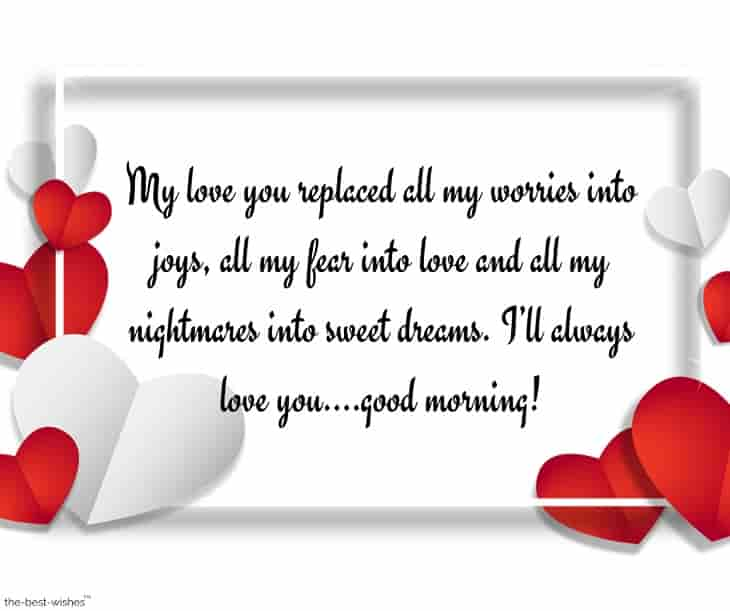 sweet good morning text message for my husband
