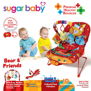Sugar Baby Bouncer 3 Recline Bear n Friends