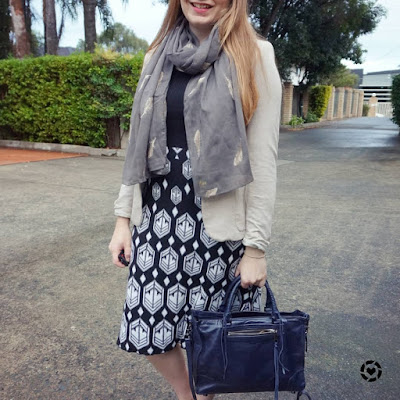 awayfromblue instagram autumn office outfit black white knit dress feather scarf blazer