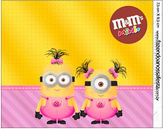 Etiqueta M&M de Minions Chicas para imprimir gratis.