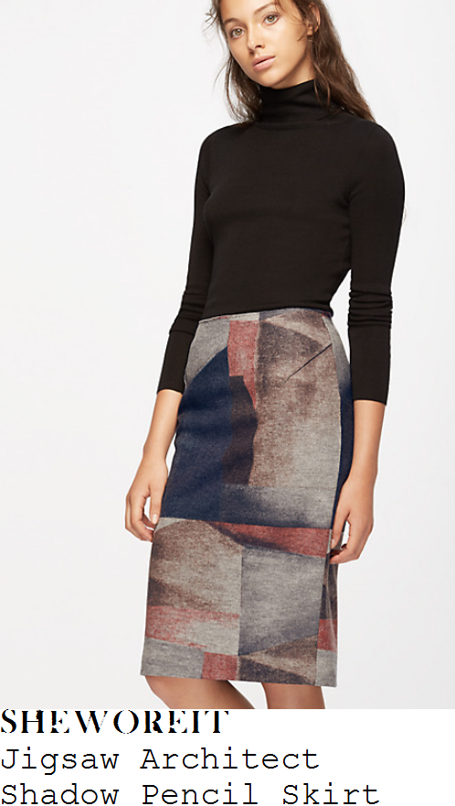 holly-willoughby-jigsaw-architect-shadow-grey-and-purple-hand-drawn-melange-print-high-waisted-tailored-wool-pencil-skirt