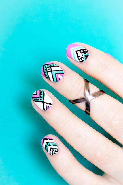 Perfect Summer Nail Designs 2018 , Aztec Summer Nail for