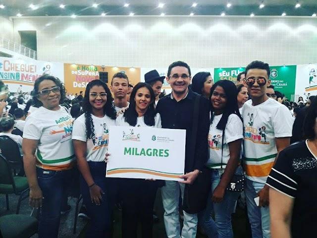 Alunos das três escolas do Estado e Prefeito de Milagres participam do lançamento do projeto #ChegueiEnsinoMédio