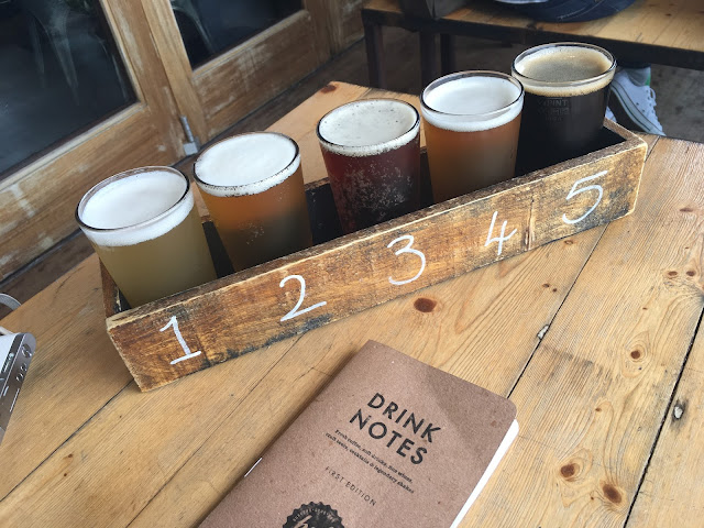 Flight of beers at The Hub St Ives, Cornwall