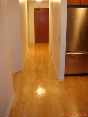 An example of solid wood flooring with a top coating of polyurethane