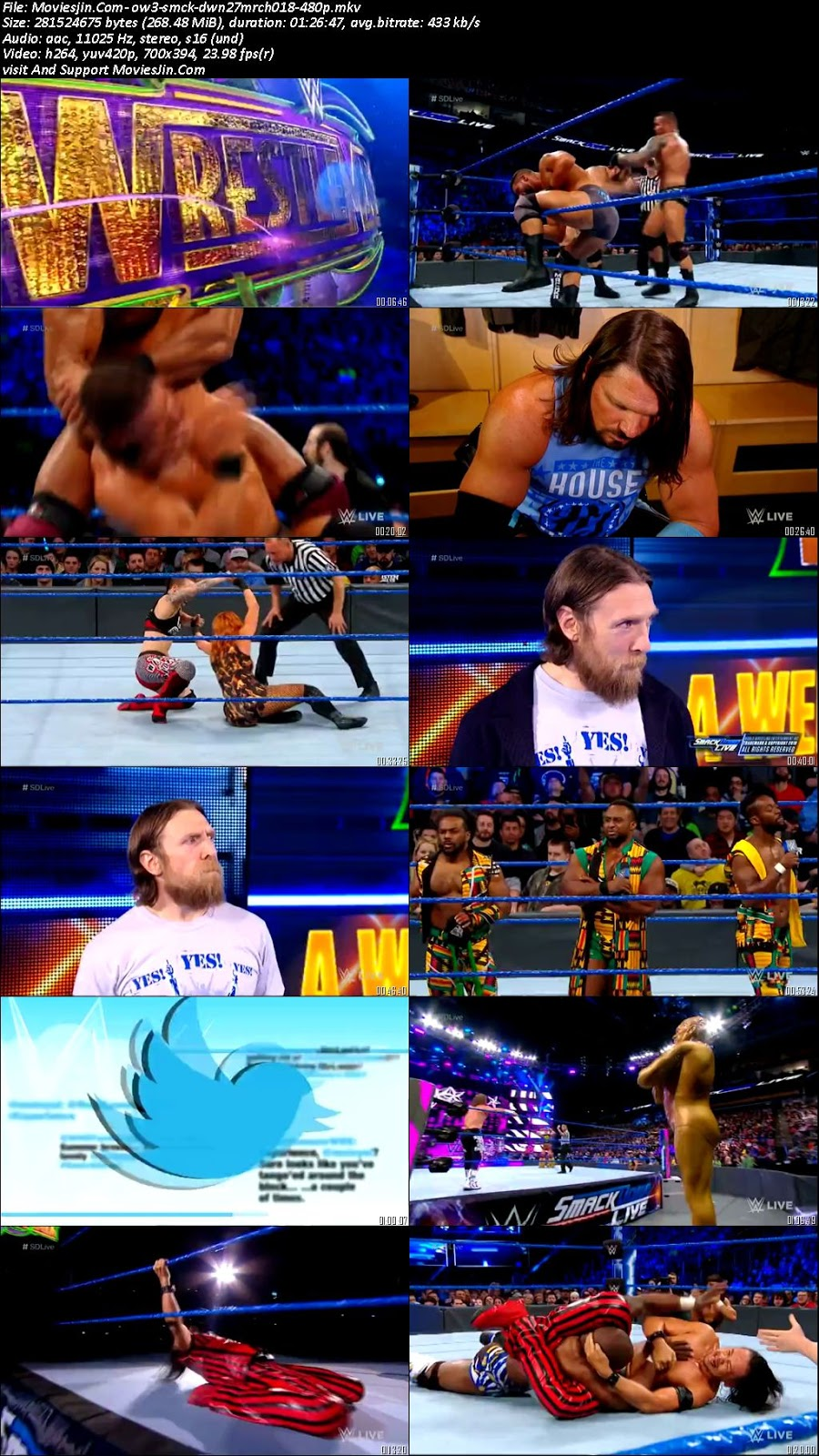 Watch Online WWE Smackdown Live 27th March 2018 HD 480p TVRip 300MB Full Movie Download Khatrimaza, free download 9xmovies,