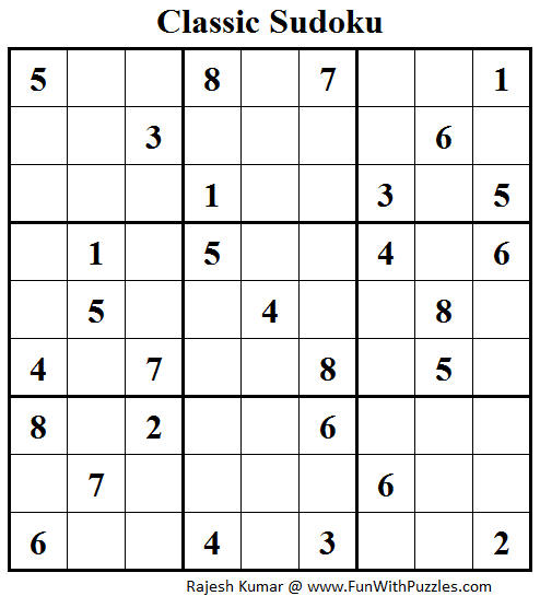 Classic Sudoku (Fun With Sudoku #43)