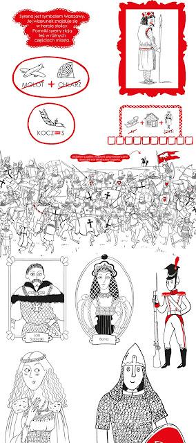 Biało czerwony zeszyt kreatywny ilustracje wydawnictwo Wilga WAB Grupa Wydawnicza Foksal katarzyna urbaniak ilustracje czarno białe książka na 100 rocznicę odzyskania niepodległości Polski ćwiczenia dla dzieci rebusy kolorowanki krzyżówki historia Polski