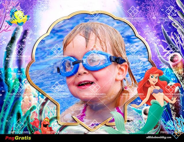 Hermoso marco para fotos infantiles de La Sirenita