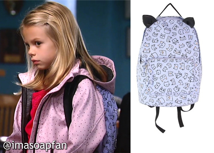 Charlotte Beaulieu, General Hospital, GH, Scarlett Fernandez, Purple Kitty Cat Print Backpack