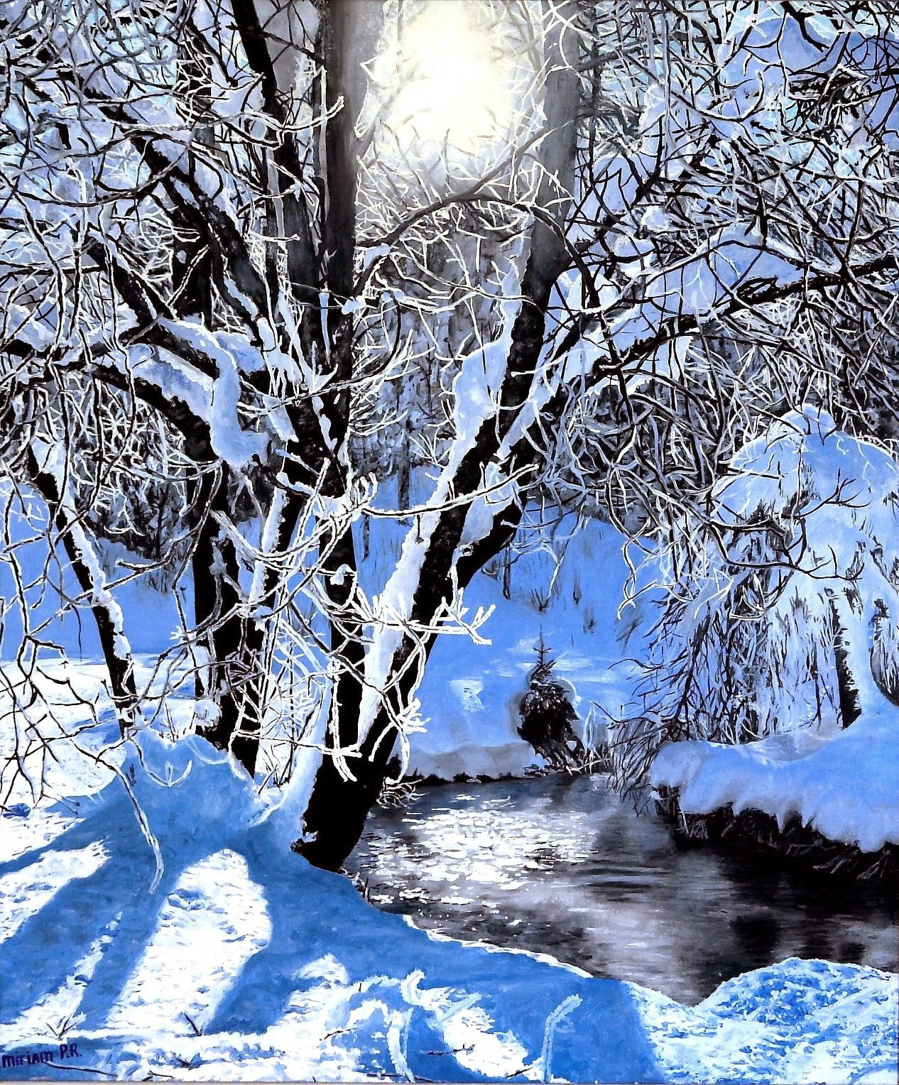 miriam peters rouyer artiste peintre paysage d 39 hiver etape par etape. Black Bedroom Furniture Sets. Home Design Ideas