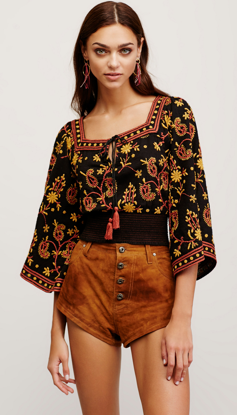 Free People Louisa Embroidered Top